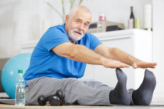 senior stretching and flexibility concept