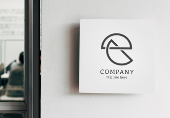 White Square Sign Mockup on a Wall