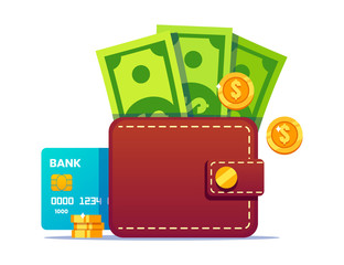 Wallet with money and credit card. Cash and credit card stick out of the wallet.