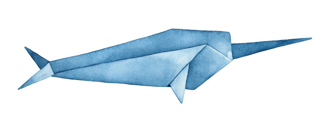 Folded Origami Narwhal watercolor illustration. Rare sea creature with long, straight tusk. Symbol of peace, shyness, magic and mystery. Hand drawn watercolour graphic painting on white background.
