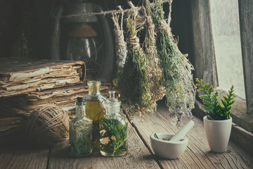 Infusion bottles, old books, mortar and hanging bunches of dry medicinal herbs. Herbal medicine. Retro styled. Wall mural
