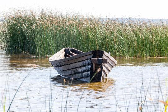 primitive old wooden boats