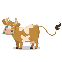 Cute brown spotted cow, funny farm animal cartoon character vector Illustration on a white background.