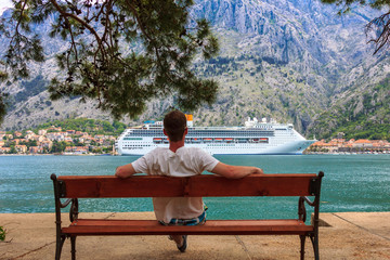 White comfortable liner in the port of Montenegro