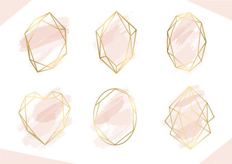 Wall Mural - Luxury rose gold geometric frame collection. Design for wedding card, invitations, logo, book cover and poster