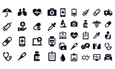Medical and Healthcare Icons vector design black and white