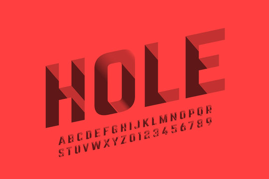 Isometric 3d font design, three-dimensional alphabet letters and numbers