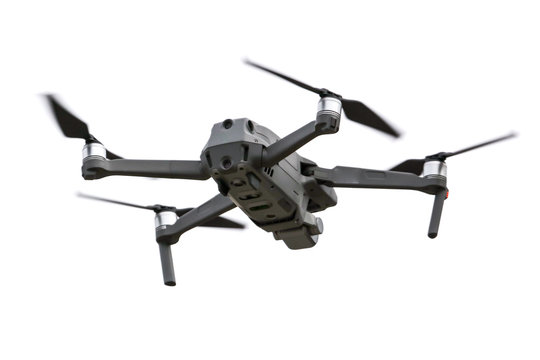 Drone in flight on a white background