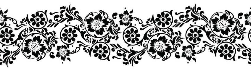 Seamless black and white textile floral border