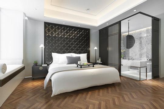 3d rendering modern luxury chinese bedroom suite in resort with bathroom