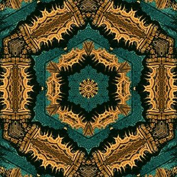 abstract pattern digital mandala background brown and green
