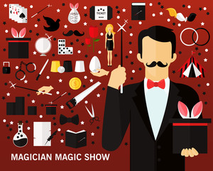 Magician magic show consept background. Flat icons.