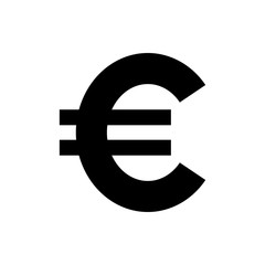 Vector image of a flat, isolated icon of the euro. Exchange of euros. Sign of the monetary union of the European Union