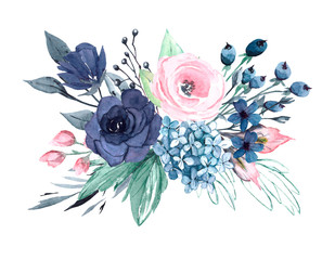 Floral blue and pink composition isolated. Watercolor flowers. Perfectly for Mother's Day, wedding, birthday, Easter, Valentine's Day. Hand painted. Design for frame border.