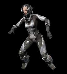 Astronautin im futuristischen Raumanzug