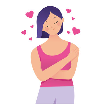 young beautiful woman hug herself, love your self, i love me concept vector character illustration