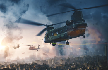 Military helicopter and forces in destroyed city and soldiers are in flight with a parachute Wall mural