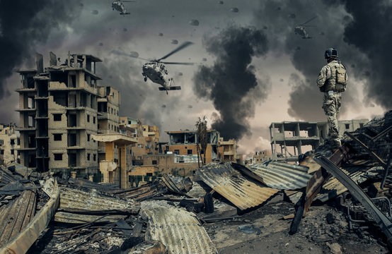 Military forces & helicopters at destroyed city
