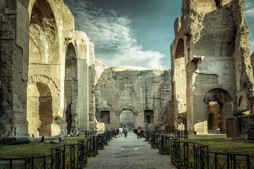 Fototapete - Panorama inside the Baths of Caracalla, Rome, Italy