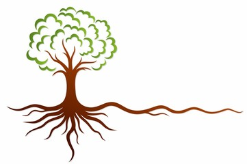 A symbol of the stylized tree with roots. Wall mural