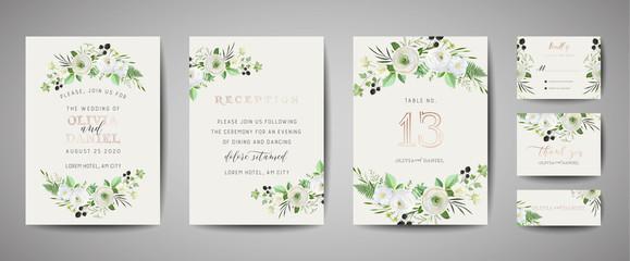 Obraz Set of Wedding Invitation, floral invite, thank you, rsvp rustic card design with gold foil decoration. Vector elegant modern template, trendy cover, graphic poster, retro brochure, design template - fototapety do salonu