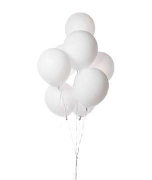 Bunch of blue latex white round balloons composition for birthday or valentines day party isolated