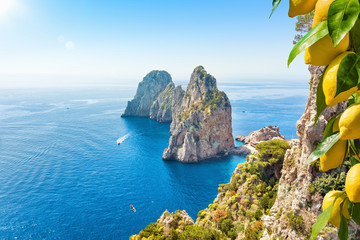 Famous Faraglioni Rocks, Capri Island, Italy Fotoväggar