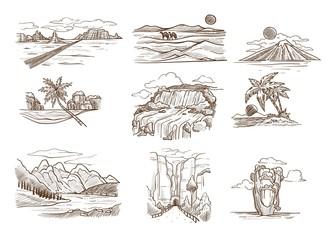 Landscape sketches wild nature seascape mountain and desert