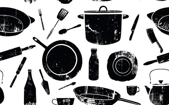 Pattern with Utensils. Vector Background.