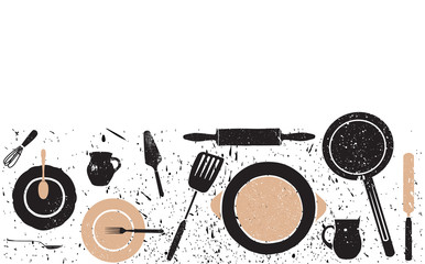 Cooking seamless horizontal pattern. Background with utensils and empty space for text. Vector illustration.