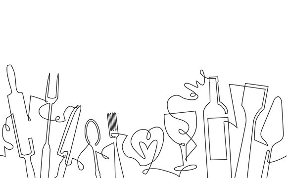 Cooking Seamless Pattern. Background with Utensils and empty space for text. Continuous drawing style. Vector illustration.