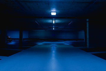 empty parking lot in blue light