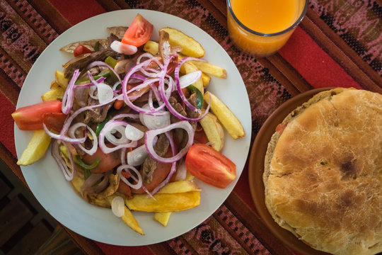 Typical dish of Bolivian cuisine called pique macho
