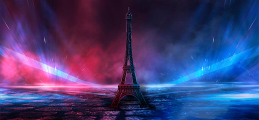 Night scene, wet asphalt and eiffel tower. Night view, neon lights, rays and light lines. Smoke, smog, dark street. Wall mural