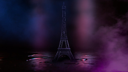 Poster de jardin Tour Eiffel Night scene, wet asphalt and eiffel tower. Night view, neon lights, rays and light lines. Smoke, smog, dark street.