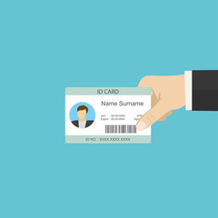 Hand holding plastic id card,flat template
