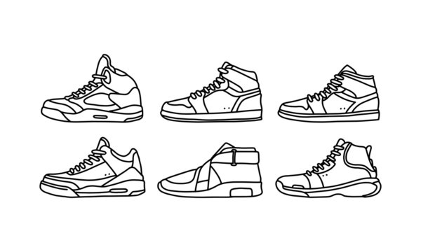 Set of sports and lifestyles shoes, sneaker vector hand drawn collection, shoe lineart icon. new shoe illustration for sport & branding design element