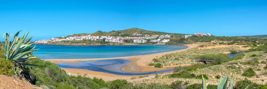 Panorama of Cala Tirant beach in Menorca, Balearic islands, Spain