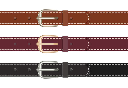 Set of leather belts with buttoned buckles isolated on white background. Vector illustration of straps black and brown in cartoon flat style.