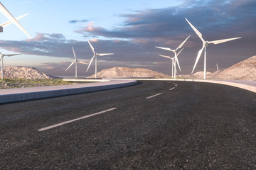 Windmills and winding road in the open, 3d rendering.