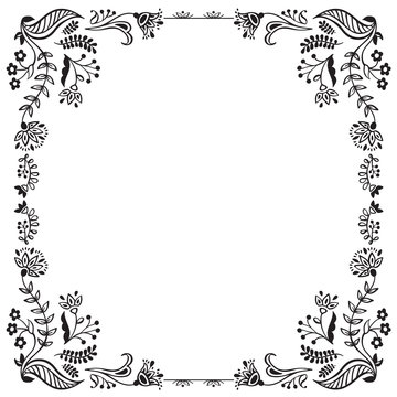 Calligraphic floral frame and page decoration. Vector illustration. Vector of decorative square element, border and frame.