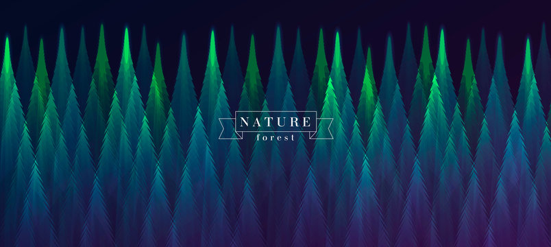 forest at night landscape view abstract geometric illustration