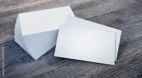 Leere Visitenkarten Mit Stapel Auf Holzfläche Template