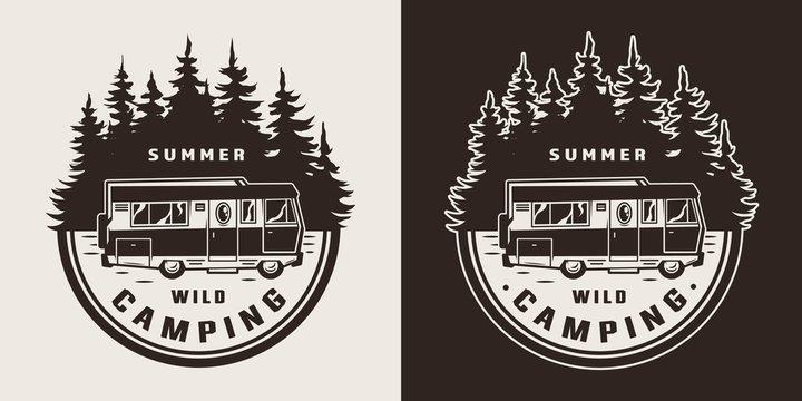 Vintage summer adventure monochrome badge