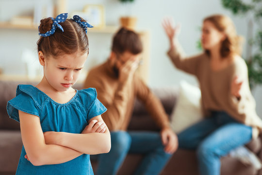family quarrel divorce parents and child swear, conflict .