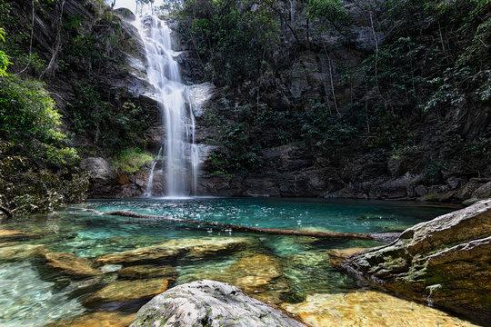 Santa Barbara Waterfall, Cavalcante, Chapada dos Veadeiros, Goias, Brazil