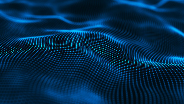 Wavy surface with many connected dots and lines. Abstract futuristic background. 3D rendering.