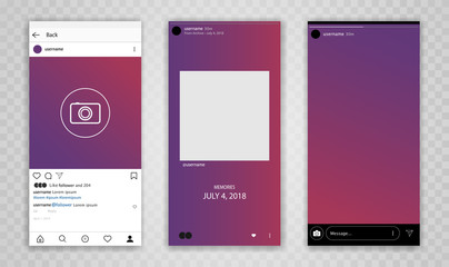 New Mock up social network. Web site mobile template. Mobile mock-up in flat style. Social network interface app. Mockip UI UX KIT Flat design. Vector app