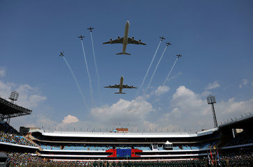 Aircraft fly past during South Africa President Cyril Ramaphosa's inauguration at Loftus Versfeld stadium in Pretoria