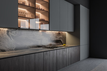 Obraz Gray and wooden kitchen interior with counters - fototapety do salonu